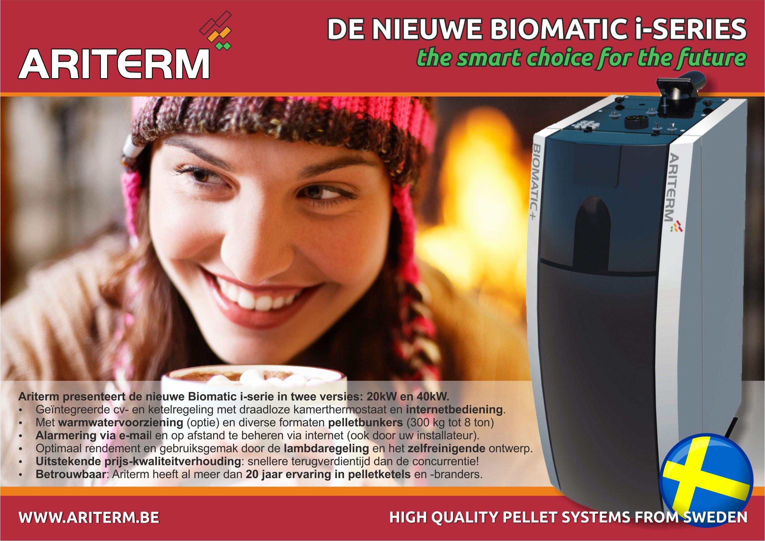 advertentie pelletketel Ariterm pelletverwarming pellet CV Biomatic